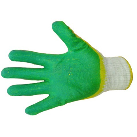 Перчатки х/б с двойным латексом 10кл, (зеленый0