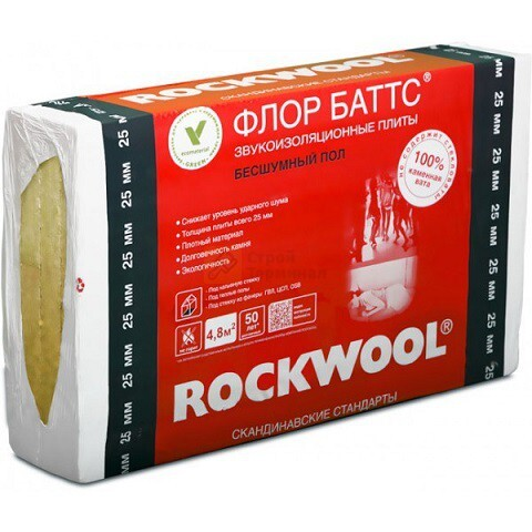 ROCKWOOL Флор баттс 1000*600*100 (1,2м2)(0,12м3)